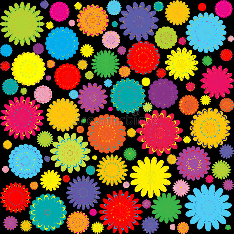 Abstrakter Hintergrund mit farbigen Blumen vektor abbildung