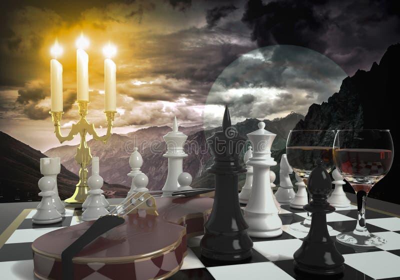 Abstrakter Hintergrund mit Schach lizenzfreie stockfotos