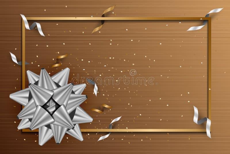 Abstrakter Hintergrund mit silbernem Geschenkbogen und Stern, Konfettigold vektor abbildung