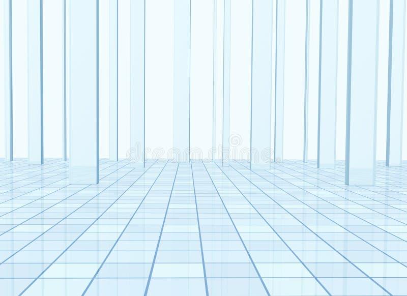 Abstrakter Hintergrund mit Spalten und einem mit Ziegeln gedeckten Fußboden vektor abbildung