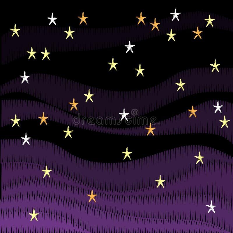 Abstrakter Hintergrund mit Stickereihimmel voll von Sternen auf schwarzem Hintergrund lizenzfreie abbildung