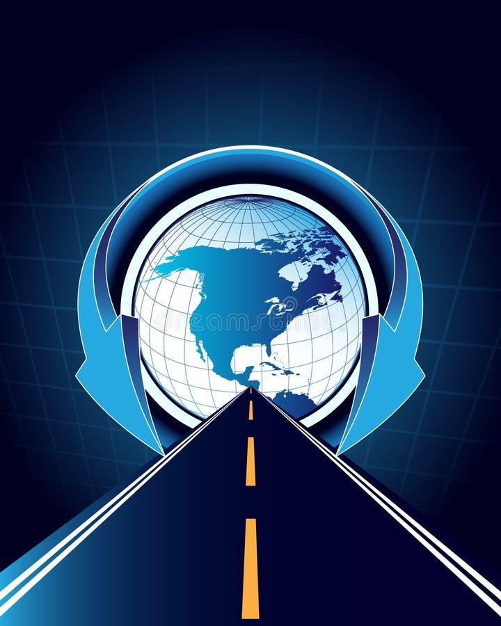 Abstrakter Hintergrund mit Straßen- und Weltkarte stock abbildung