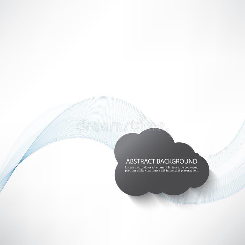 Abstrakter Hintergrund mit transparenten Blauwellen und grauen Wolken stock abbildung