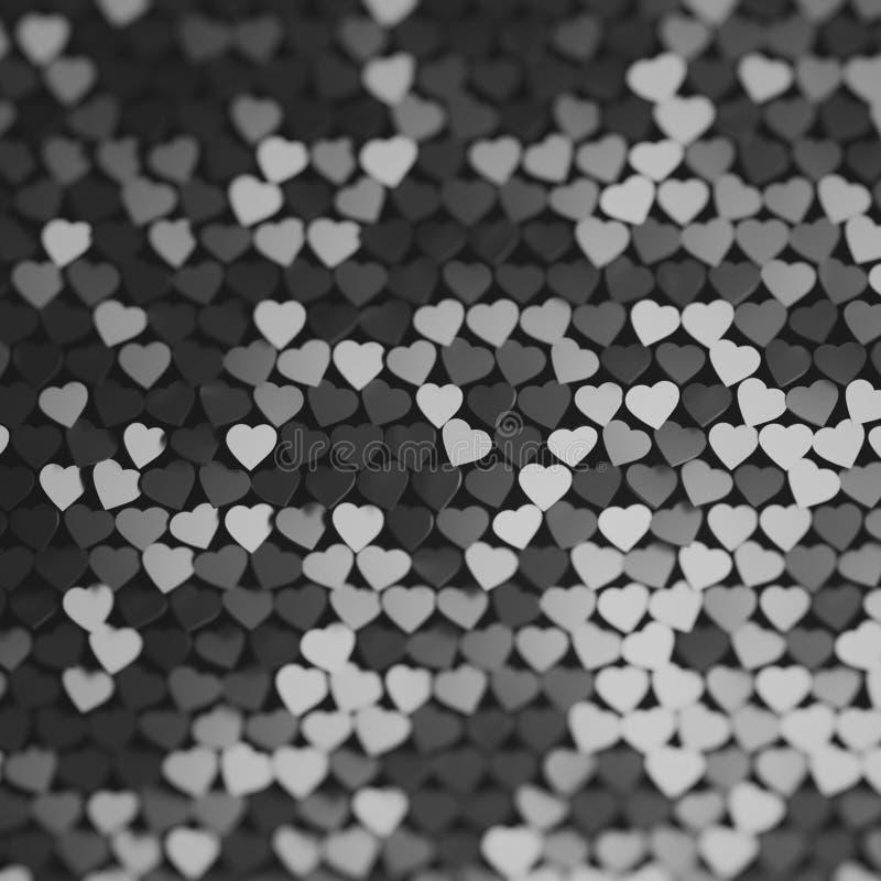 Abstrakter Hintergrund mit vielen Herzen in den Schwarzweiss-Farben stock abbildung