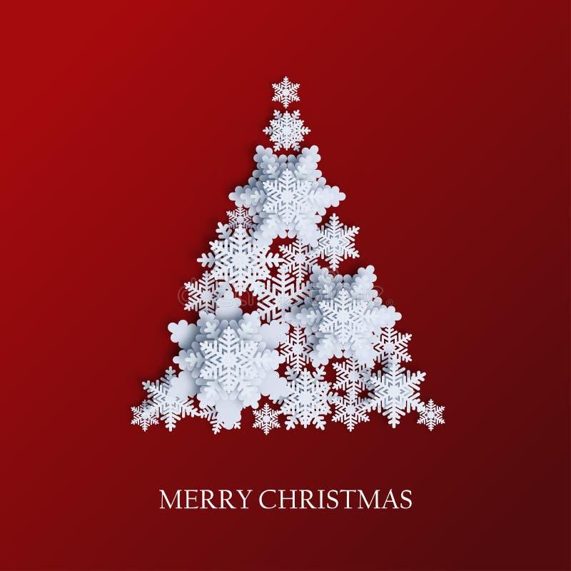 Abstrakter Hintergrund mit Weihnachtsbaum gemacht vom volumetrischen Papierschnee lizenzfreie abbildung
