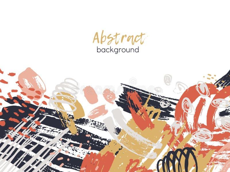 Abstrakter Hintergrund verziert durch bunte chaotische Farbenspuren, raue Pinselstriche, Gekritzel, Fleck, Flecke modern lizenzfreie abbildung