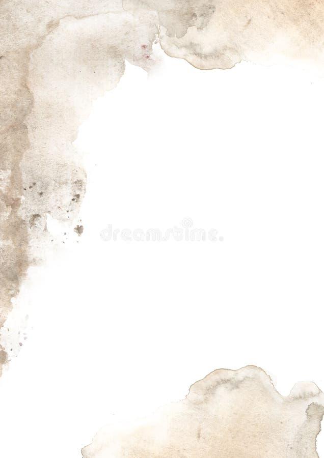 Abstrakter Hintergrund Vintage Kaffee Fleck Hintergrund Aquarellpapiertextur lizenzfreie abbildung