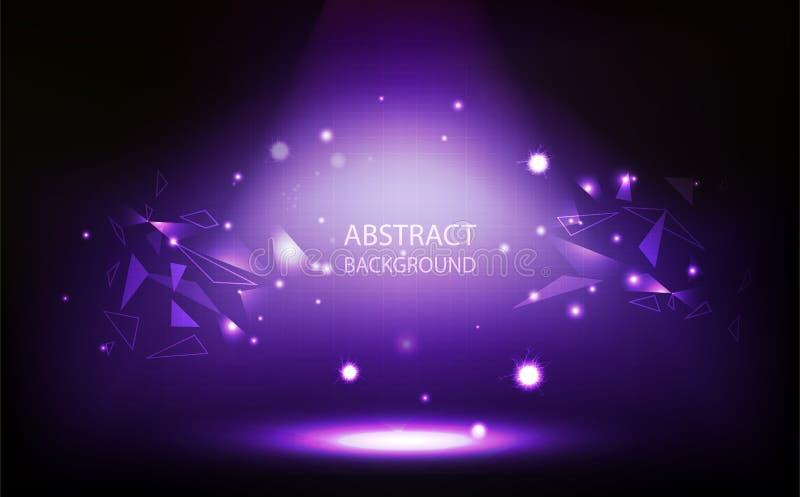 Abstrakter Hintergrund, violetter Scheinwerfer im Raum, Gitterwand, Dreieckpolygonkonzept mit Digitaltechnikvektorillustration vektor abbildung
