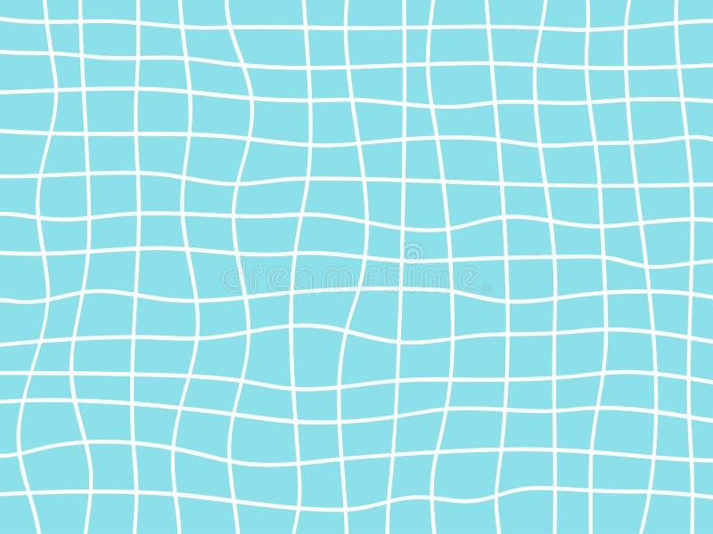 Abstrakter Hintergrund von hellen weißen und blauen gewellten Linien mit gebogenem Gitter stock abbildung