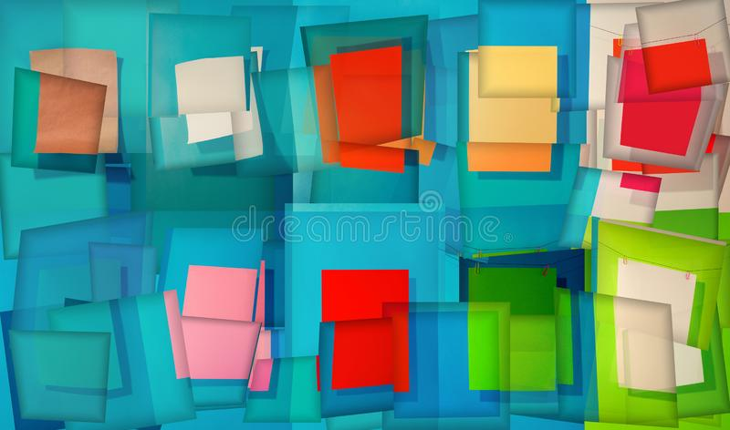 Abstrakter Hintergrund von Linien und von rechteckigen geometrischen Formen stock abbildung