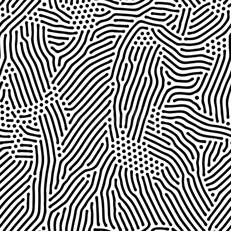 Abstrakter Hintergrund von organischen unregelmäßigen Linien des Vektors und von Punktmuster vektor abbildung