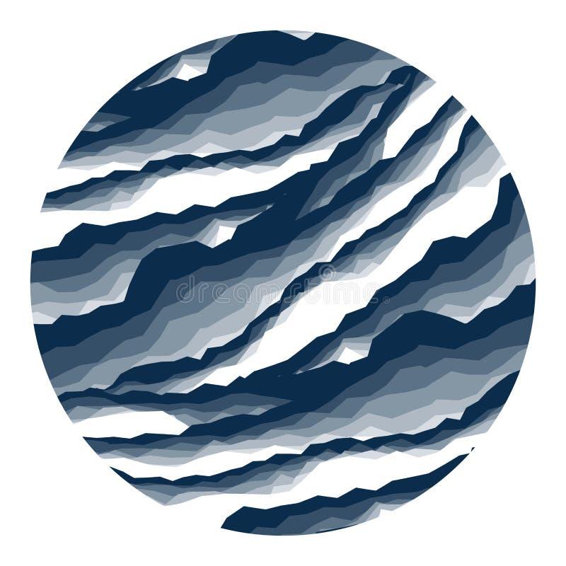 Abstrakter Hintergrundmarmor, Barke, Berg, dunkelblauer Schatten der Steinschicht in der Kreisform stock abbildung