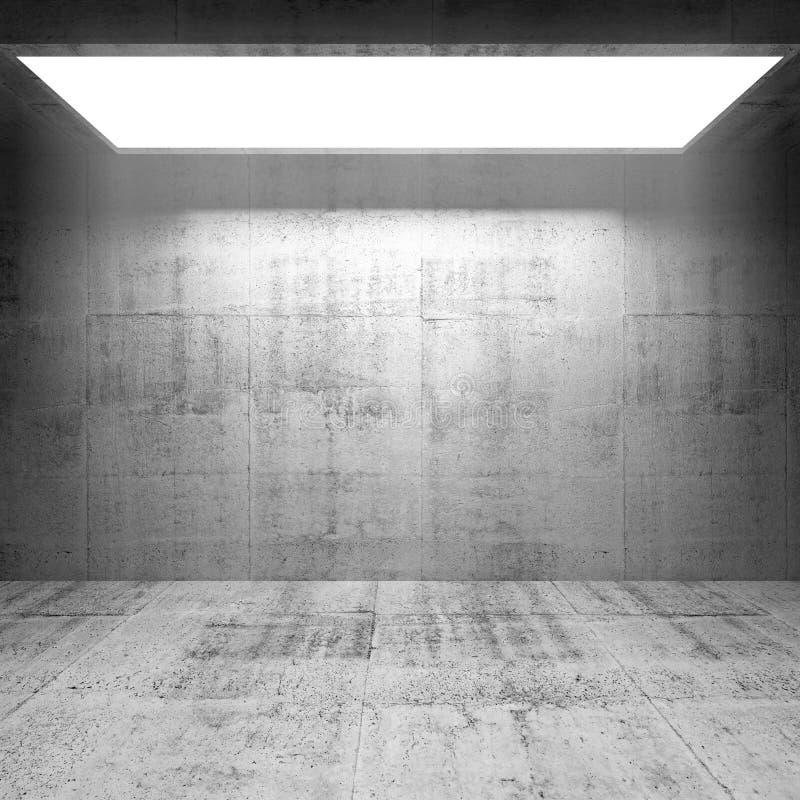 Abstrakter Innenraum des Betons 3d mit hellem Portal lizenzfreie abbildung