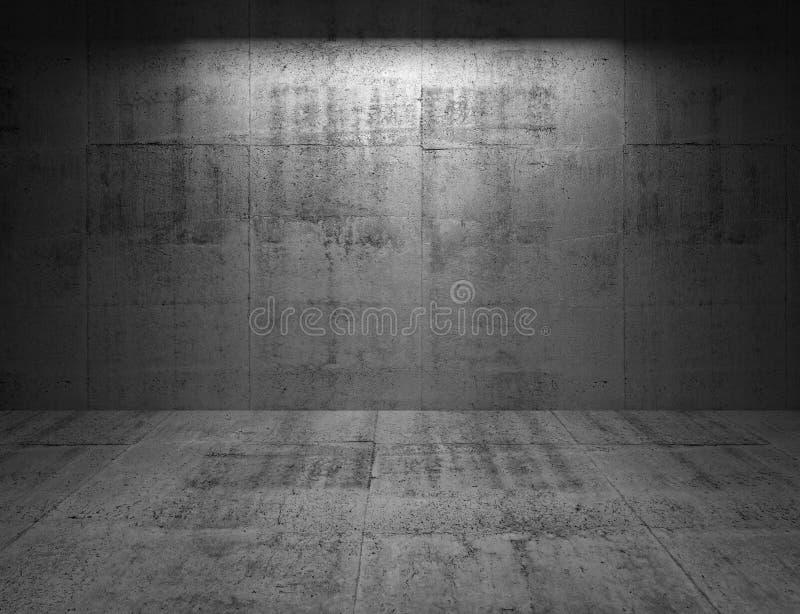 Abstrakter Innenraum des Betons 3d mit heller Stelle auf der Wand lizenzfreie abbildung