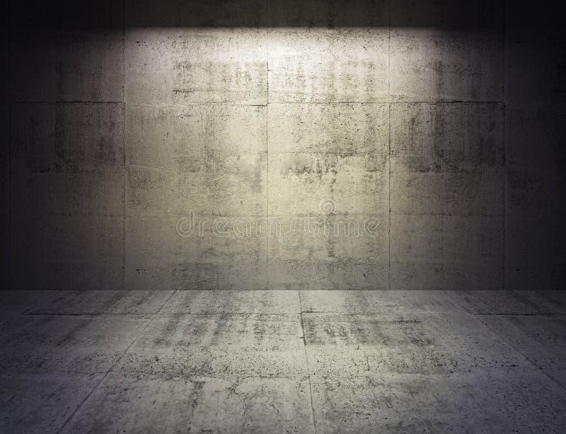 Abstrakter Innenraum des Betons 3d mit Scheinwerferlicht auf der Wand lizenzfreie abbildung