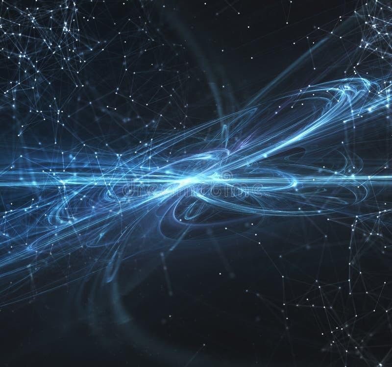 Abstrakter Internetanschlussnetzhintergrund mit Bewegungseffekten lizenzfreie abbildung