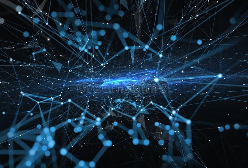 Abstrakter Internetanschlussnetzhintergrund mit Bewegungseffekten stockfoto