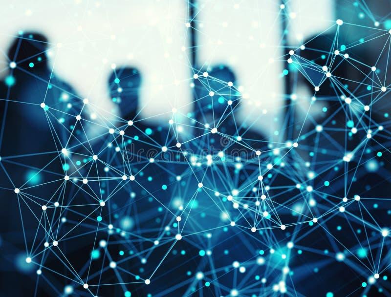 Abstrakter Internetanschlussnetzhintergrund mit Schattenbild des Geschäftsteams stockbild