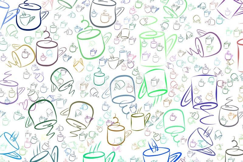 Abstrakter Kaffeetasse-Illustrationshintergrund Dekoration, Morgen, Tapete u. Erfrischung stock abbildung