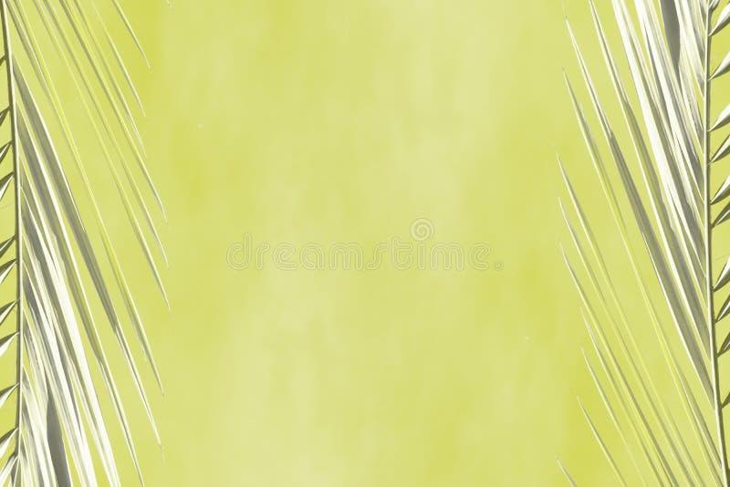 Abstrakter kakifarbiger Hintergrund mit grauen Niederlassungen von Palmen stock abbildung
