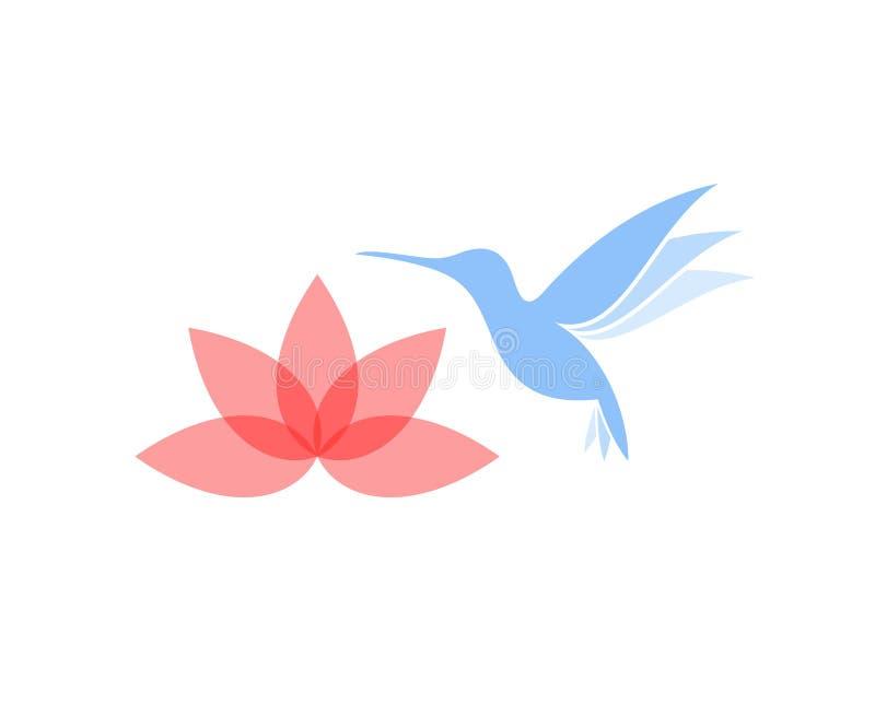 Abstrakter Kolibri mit Blume vektor abbildung