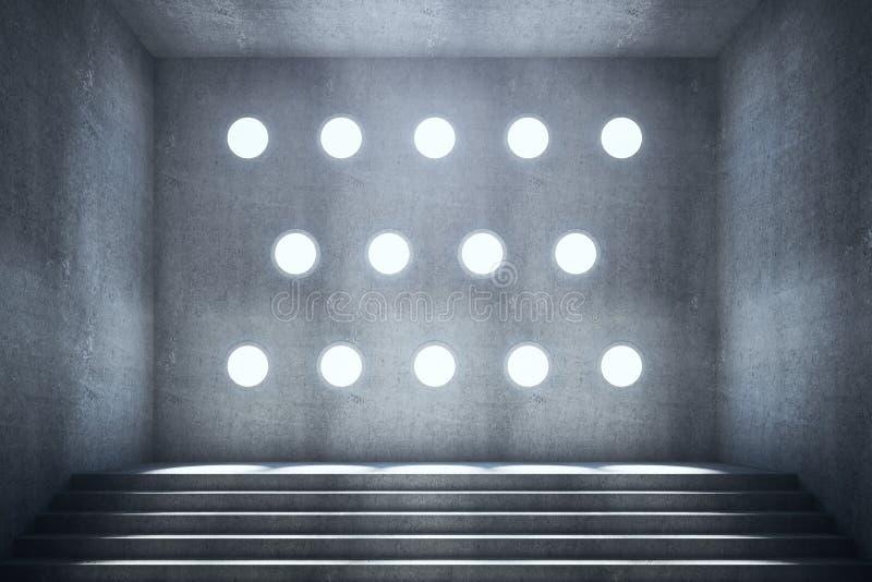 Abstrakter konkreter Innenraum mit Treppe lizenzfreie abbildung