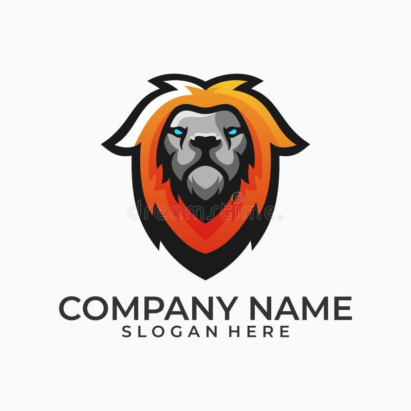 Abstrakter Kopf Lion Concept Illustration Vector Template stock abbildung