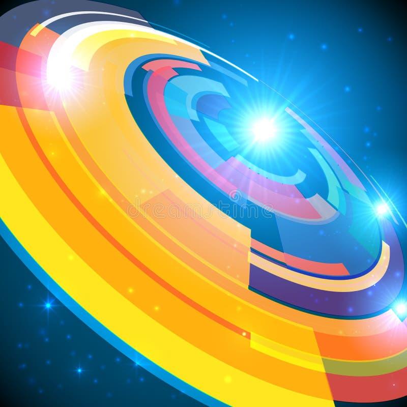 Abstrakter kosmischer glänzender bunter Kreisrahmen stock abbildung