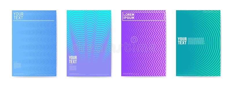 Abstrakter kreativer Karten-Plakat-Poster eingestellt Modisches Halbtonsteigungs-Design für Fahnen, Abdeckung, Einladung Hippie-B lizenzfreie abbildung