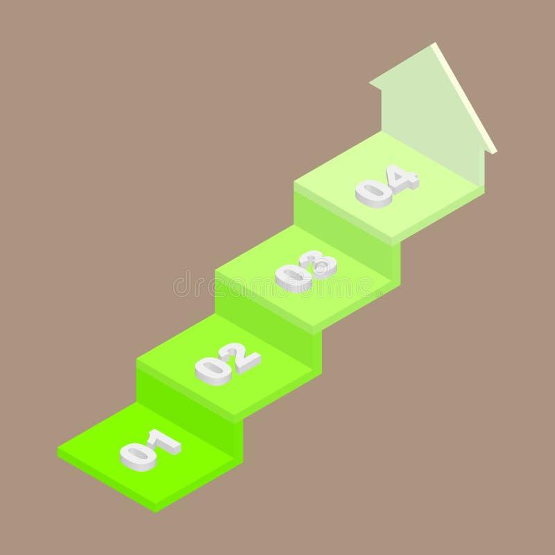 Abstrakter kreativer Konzepthintergrund Idee, Zeitachse mit Pfeil anzuzeigen Geschäftskonzept mit 4 Schritten Auch im corel abgeh stock abbildung