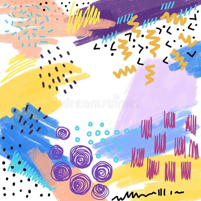 Abstrakter kreativer Rahmen mit Handgezogenen Formen und Beschaffenheiten, Schablonen für Einladung im Memphis-Hippie-Entwurf Kop vektor abbildung