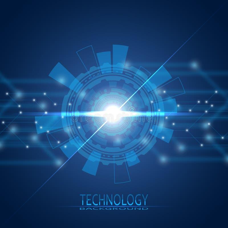 Abstrakter Kreis Jahrhundert 21 Die Ära von neuen Technologien Auf einem blauen Hintergrund lizenzfreie abbildung