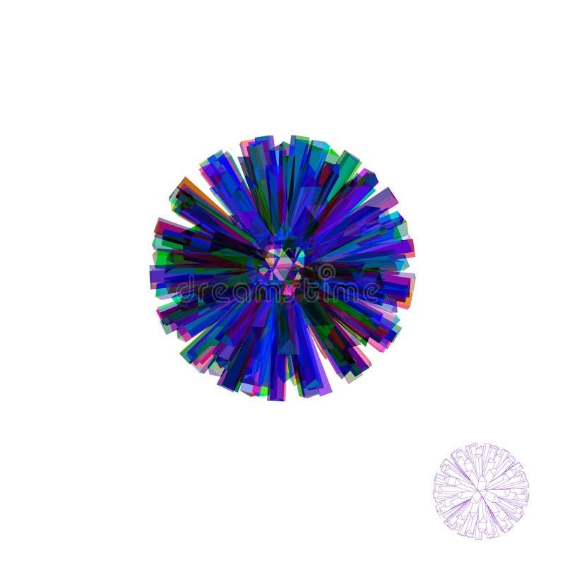 Abstrakter Kristall 3D Getrennt auf weißem Hintergrund Vektor bunt stock abbildung