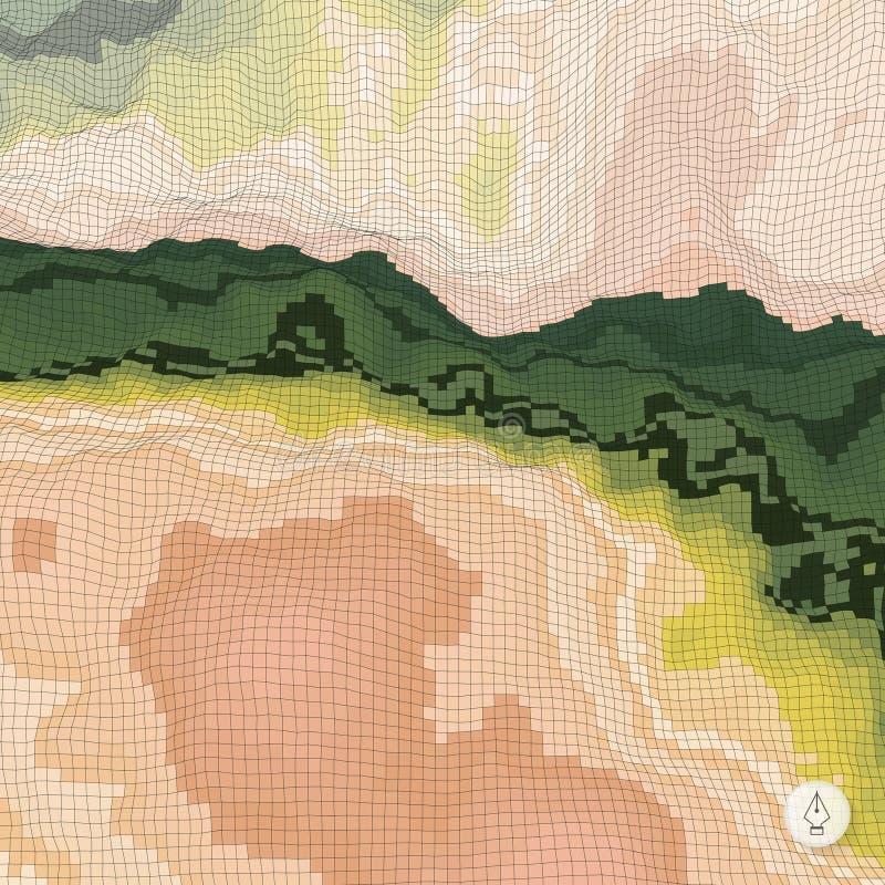 Abstrakter Landschaftshintergrund mosaik 3d stock abbildung