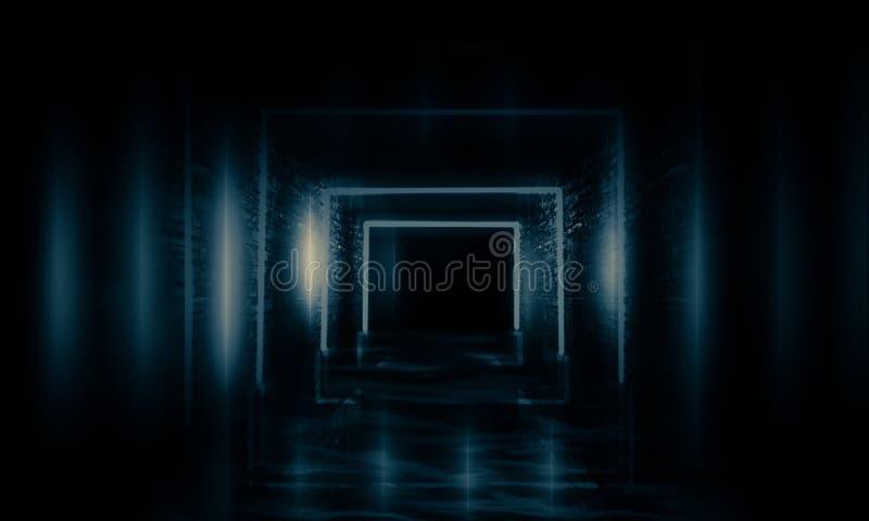 Abstrakter leerer, alter Tunnel, Korridor, Bogen, Dunkelkammer, Neonbeleuchtung, dicker Rauch, Smog lizenzfreies stockfoto