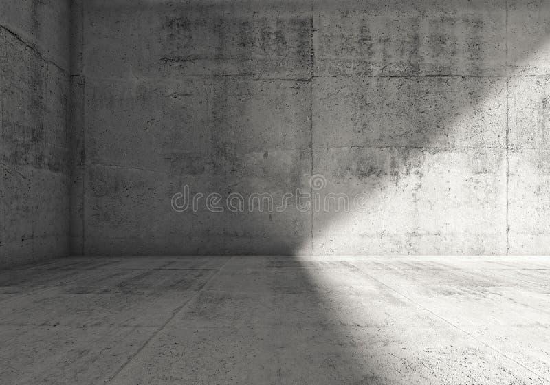 Abstrakter leerer dunkler konkreter Innenraum des Raumes 3d lizenzfreie abbildung