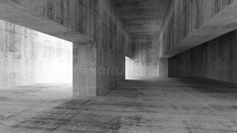 Abstrakter leerer grauer konkreter Innenraum stock abbildung