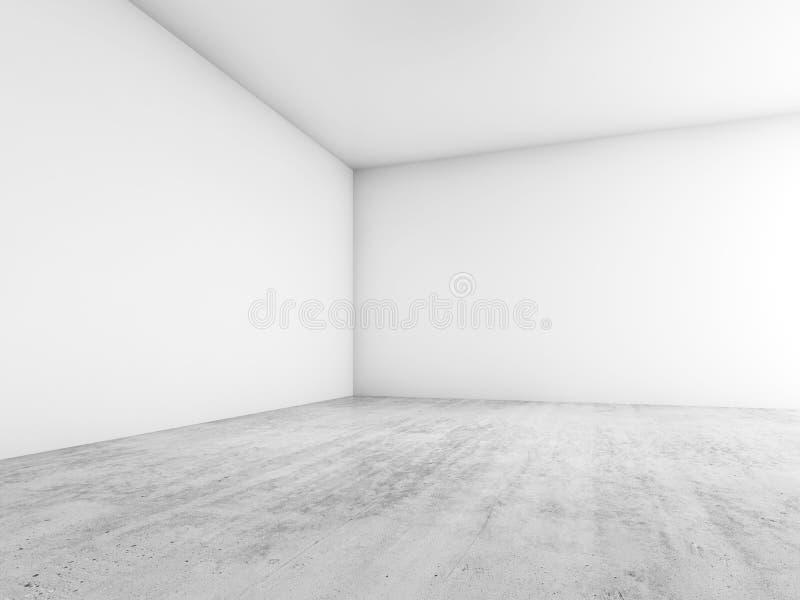 Abstrakter leerer Innenraum, Ecke von leeren weißen Wänden vektor abbildung