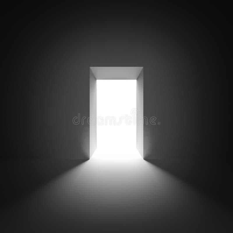 Abstrakter leerer Innenraum mit offener glühender Tür lizenzfreie abbildung