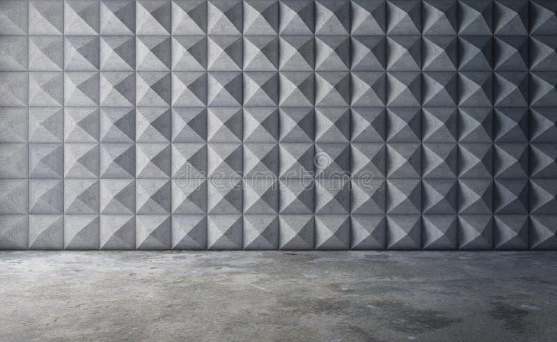 Abstrakter leerer konkreter Innenraum mit polygonalem Wandmuster 3d stock abbildung