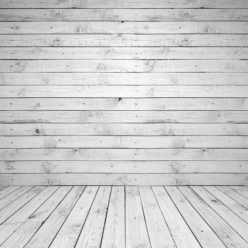 Abstrakter leerer weißer hölzerner Rauminnenraum stockfotos
