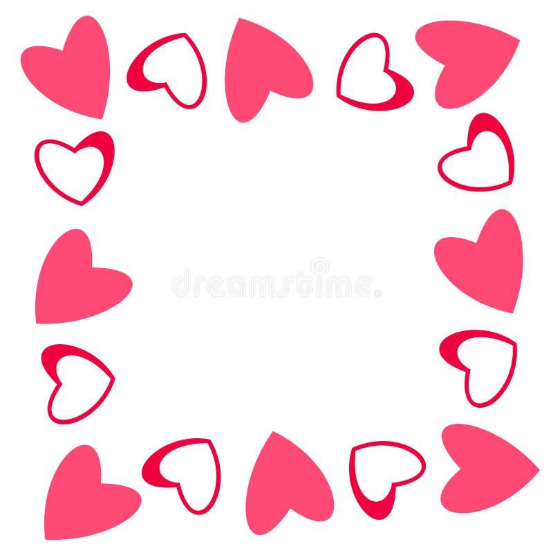 Abstrakter Liebesrahmen Von Einem Muster Von Herzen Für Grußkarten ...