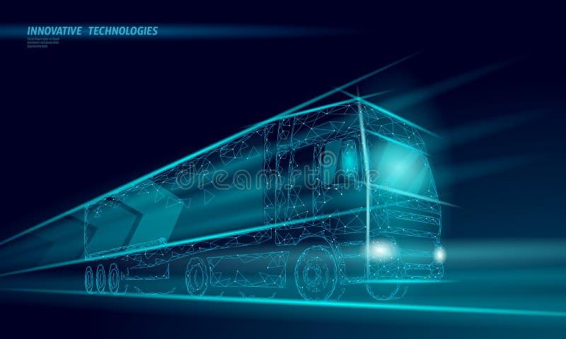 Abstrakter LKW des niedrigen Polytransportes Schnelles Lieferungsversenden des Lastwagenpackwagens logistisch Polygonale dunkelbl stock abbildung