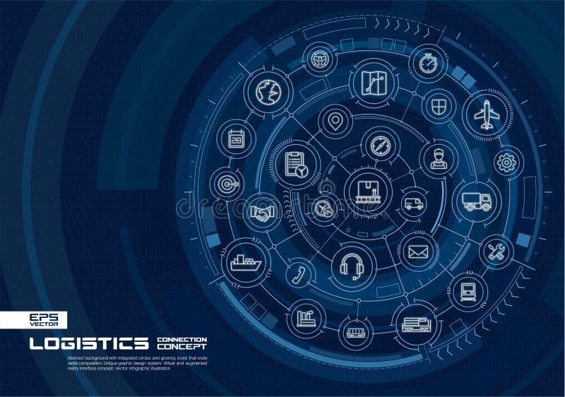 Abstrakter logistischer und Verteilungshintergrund Digital schließen System mit integrierten Kreisen, glühende dünne Linie Ikonen stock abbildung