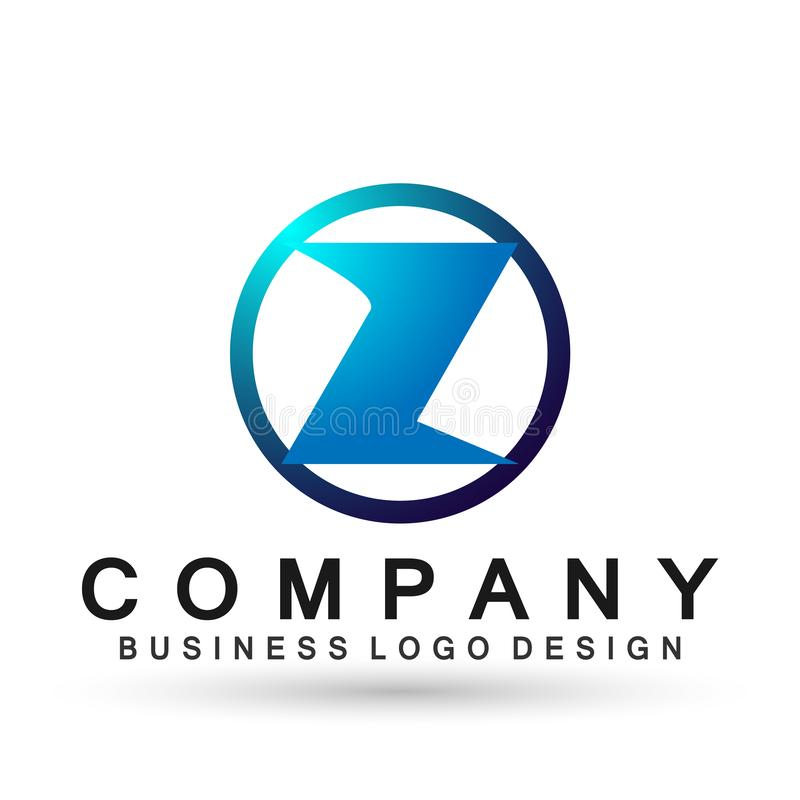 Abstrakter Logo-Entwurfsvektor des Buchstaben Z im Element für Firma auf weißem Hintergrund lizenzfreie abbildung