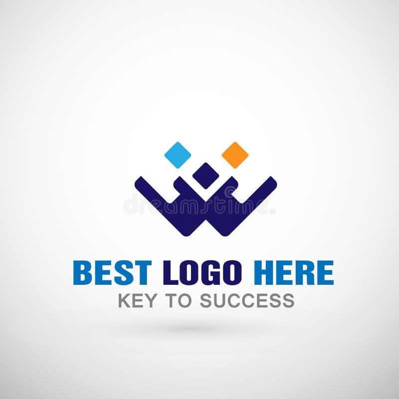 Abstrakter Logobuchstabe W formte Geschäftslogoikone, Kommunikationsverbandserfolgs-Konzeptlogo für Firma stock abbildung