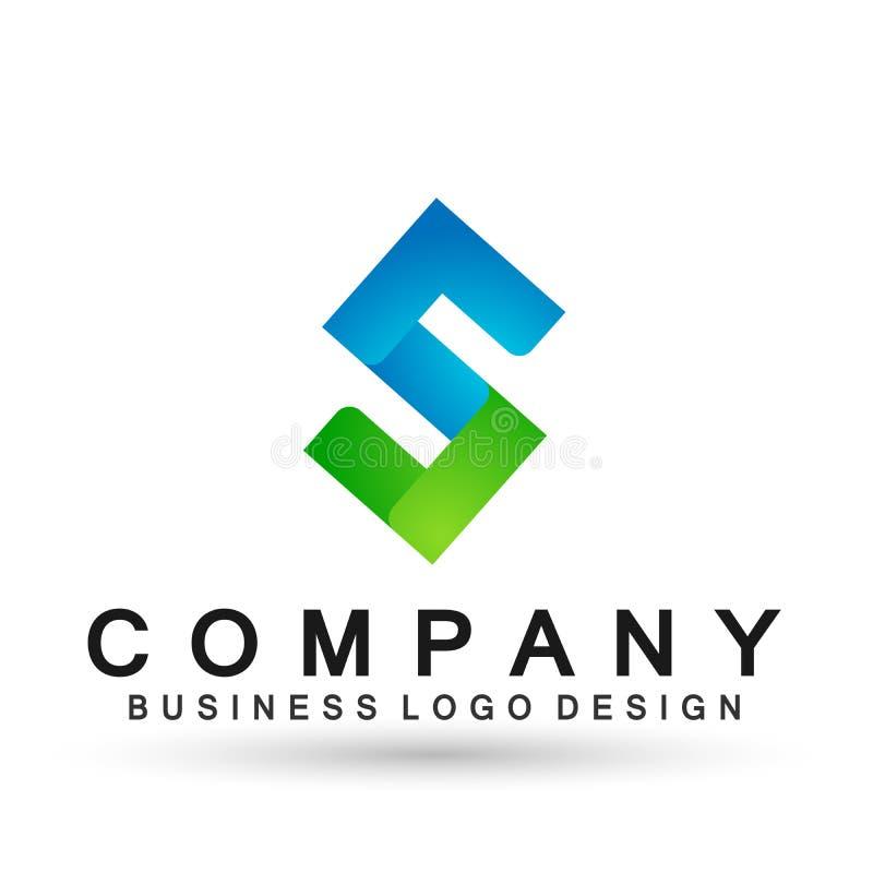 Abstrakter Logoentwurfsvektor des Buchstaben S im Element f?r Firma auf wei?em Hintergrund vektor abbildung