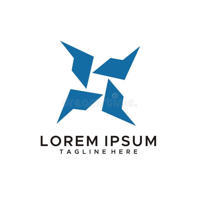Abstrakter Logoentwurfsvektor oder -illustration wie blaue Farbe des Fans lizenzfreie abbildung