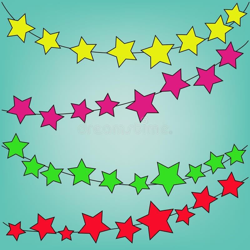 Abstrakter magischer bunter Stern auf blauem Hintergrund lizenzfreie abbildung