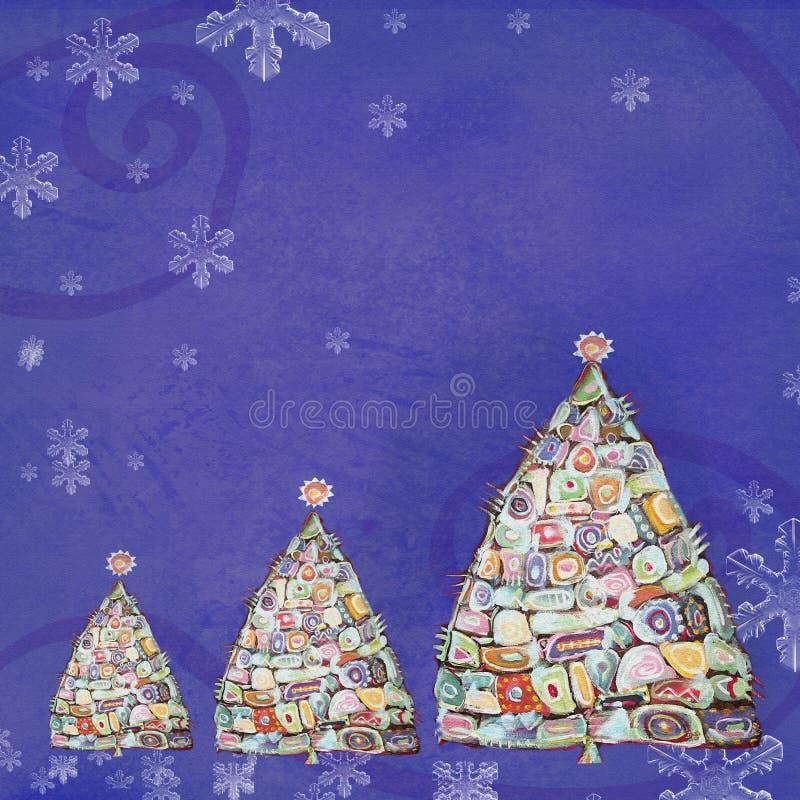 Abstrakter MalereiWeihnachtsbaum Designschablone mit Platz für Ihren Text stock abbildung